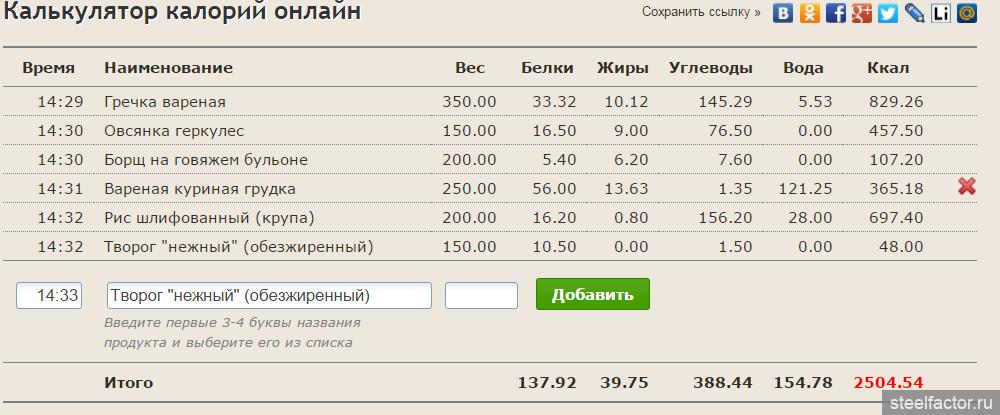 Программа По Расчету Калорий Для Похудения.